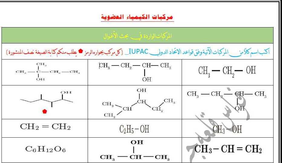 ورقة عمل في الكيمياء العضوية البكالوريا العلمي