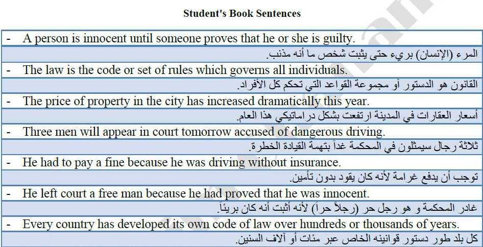 جمل ترجمة هامة من كتابي الطالب والأنشطة اللغة الانكليزية البكالوريا