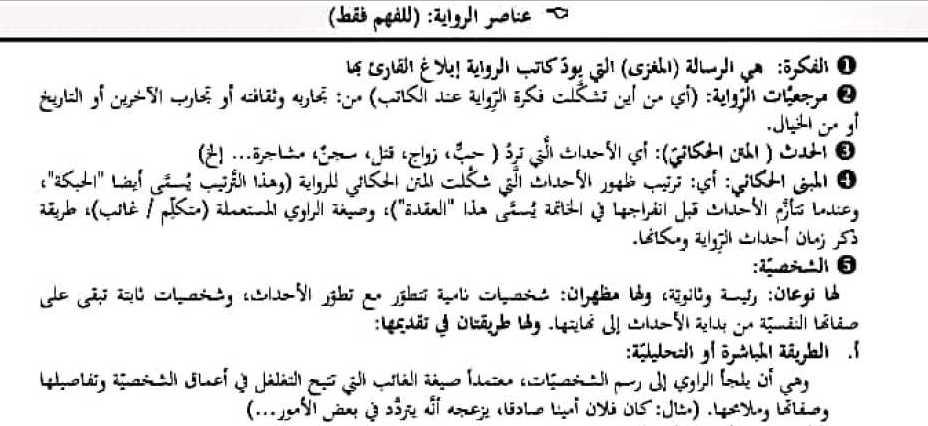 تلخيص وحدة الرواية اللغة العربية البكالوريا