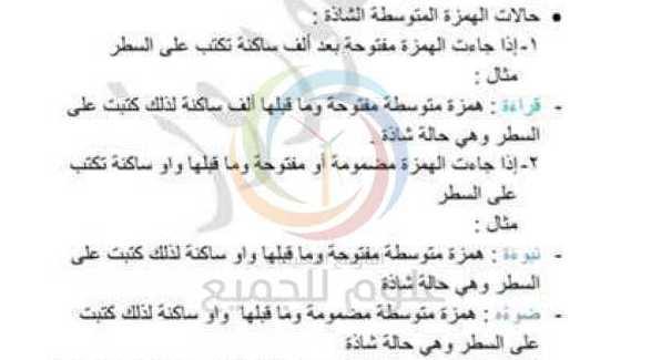 الهمزة المتوسطة اللغة العربية الصف التاسع
