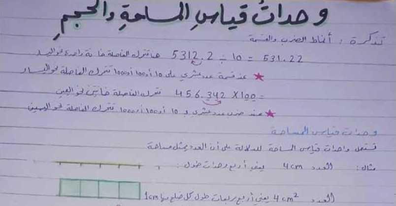 شرح درس وحدات قياس المساحة والحجم رياضيات الصف السادس
