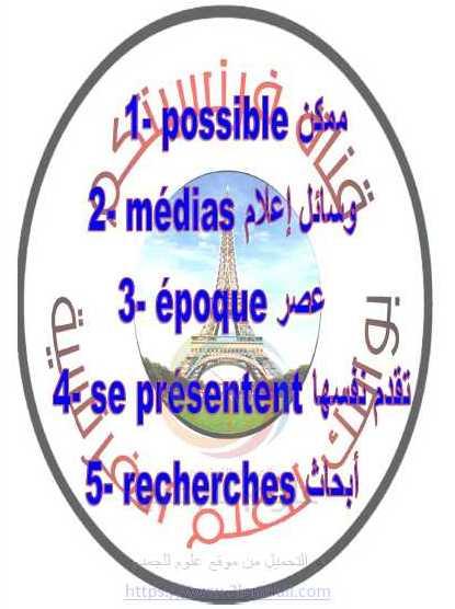 كلمات الوحدة الخامسة اللغة الفرنسية الصف التاسع