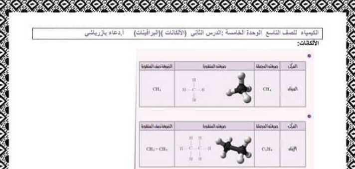 حل درس الألكانات كيمياء الصف التاسع
