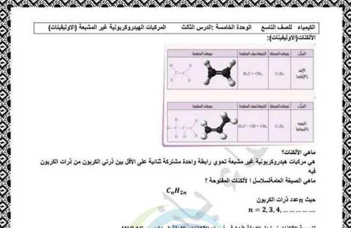 حل درس المركبات الهيدروجينية غير المشبعة كيمياء الصف التاسع
