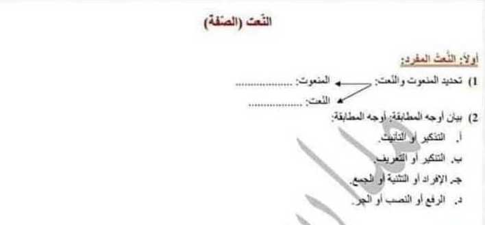 درس النعت (الصفة)اللغة العربية الصف التاسع