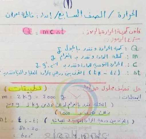 قانون الحرارة و حل المسائل كاملةً مع الشرح الصف السابع