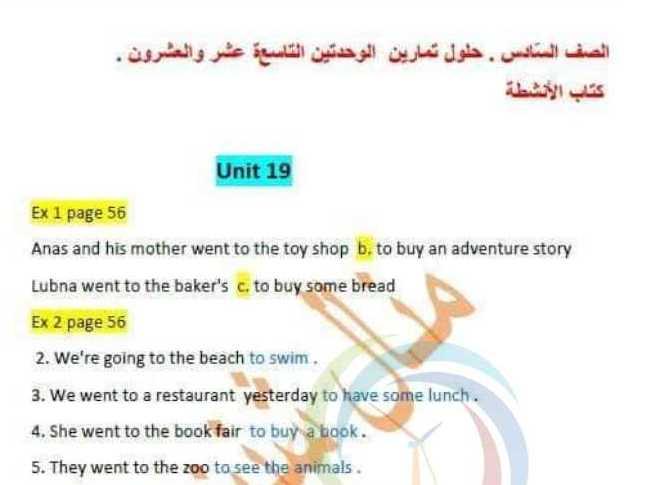 حلول الوحدتين 19و20 اللغة الانكليزية الصف السّادس