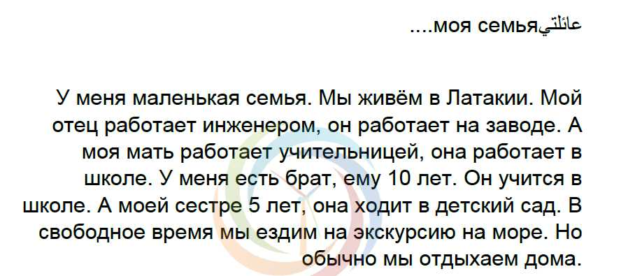 الموضوع الرابع اللغة الروسية الصف التاسع