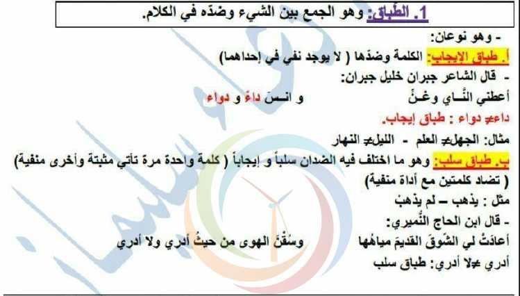 شرح المحسنات البديعية اللغة العربية الصف التاسع