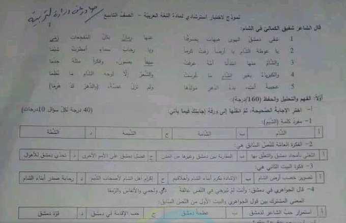 نموذج وزاري (مع الحل) اللغة العربية الصف التاسع