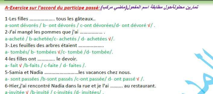 تمارين محلولة عن النفي واسم المفعول اللغة الفرنسية  الصف التاسع