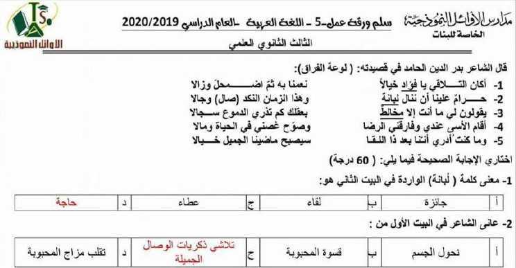 ورقة عمل محلولة  اللغة العربية البكالوريا العلمي