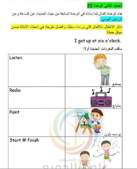 شرح الوحدة 22 اللغة الانكليزية الصف الثاني