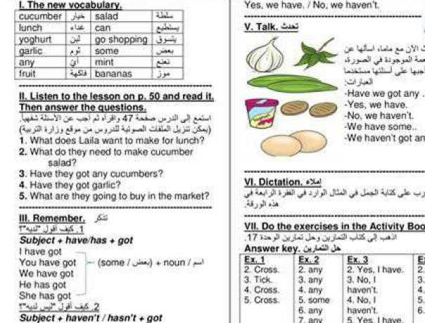 شرح الوحدة 17 اللغة الانكليزية  الصف الرابع