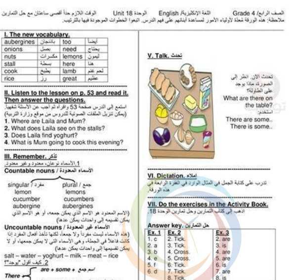 شرح الوحدة  18+19 اللغة الانكليزية  الصف الرابع