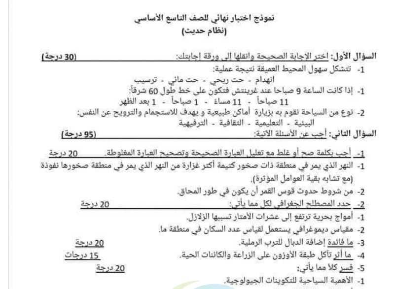 نماذج جغرافيا تاسع سوريا - نموذج جغرافيا للامتحان النهائي للصف التاسع مع سلم التصحيح