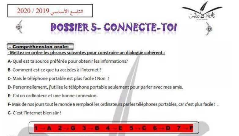 أوراق عمل محلولة لقواعد الوحدة الخامسة اللغة الفرنسية الصف التاسع