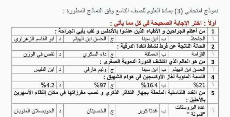 نموذج امتحاني شامل (3) مع الحل علوم الصف التاسع