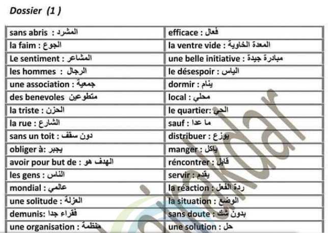 مفردات جميع الوحدات اللغة الفرنسية الصف التاسع