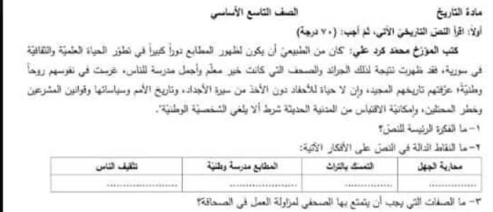 نموذج امتحاني مع سلم التصحيح معتمد من الوزارة  تاريخ الصف التاسع