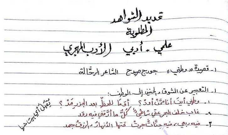 أفكار وحدة الأدب المهجري اللغة العربية البكالوريا علمي أدبي
