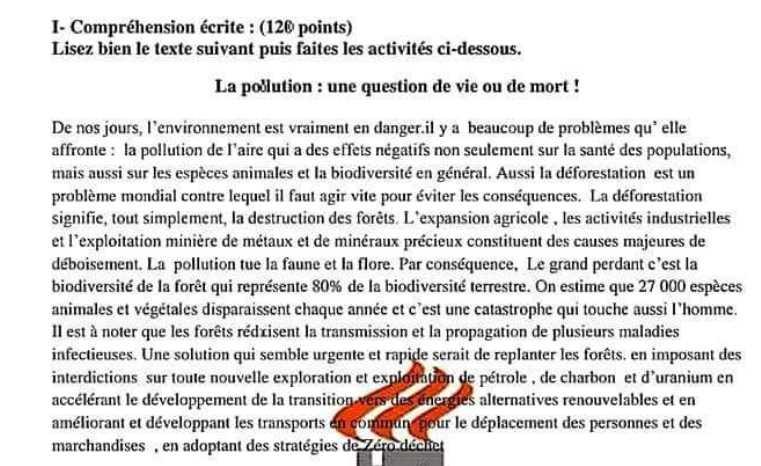 نموذج شامل مع سلم التصحيح اللغة الفرنسية البكالوريا العلمي