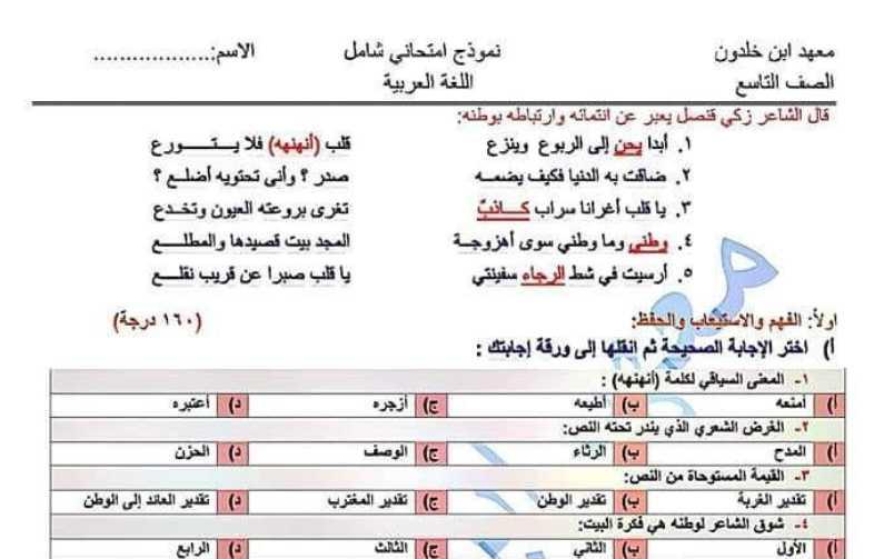 نموذج شامل اللغة العربية الصف التاسع