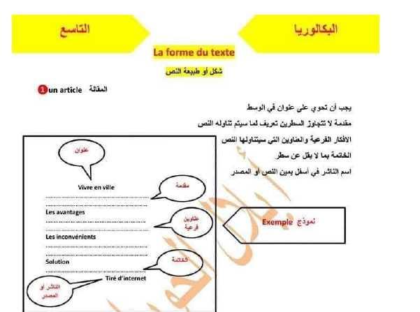 شرح شكل او طبيعة النص اللغة الفرنسية البكالوريا & التاسع