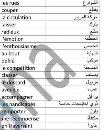 مفردات الوحدات الرابعة -الخامسة-السادسة اللغة الفرنسية الصف التاسع