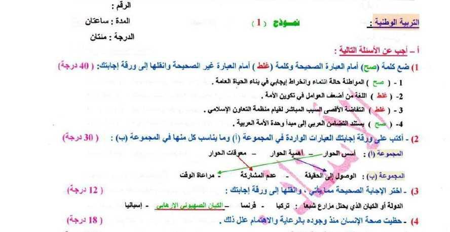 ستة نماذج امتحانية محلولة وطنية الصف التاسع