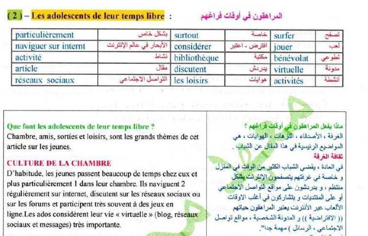 حل نصوص الوحدة الأولى اللغة الفرنسية الصف التاسع