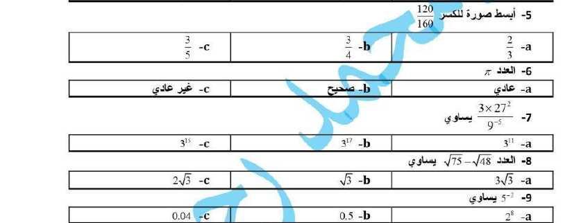 20 سؤال اختر الاجابة الصحيحة للوحدتين الأولى والثانية رياضيات الصف التاسع