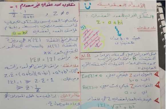 ملخص الاعداد العقدية رياضيات البكالوريا العلمي