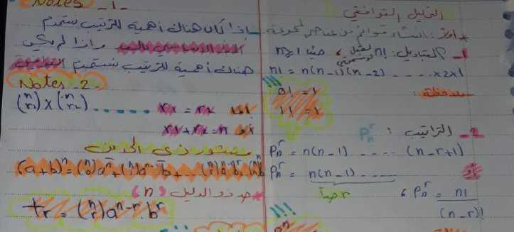 ملخص التحليل التوافقي رياضيات البكالوريا العلمي