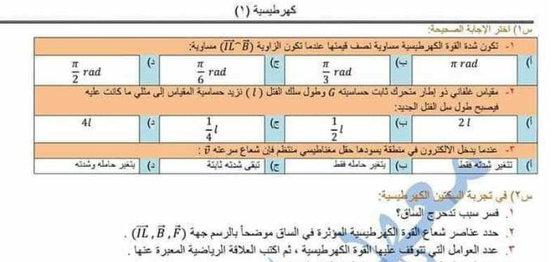 نماذج فيزياء بكالوريا - نماذج كهرطيسية ومحلولات فيزياء البكالوريا العلمي