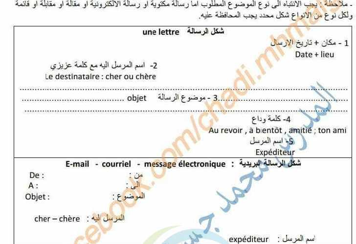 المواضيع الاساسية في دفتر الأنشطة اللغة الفرنسية الصف التاسع