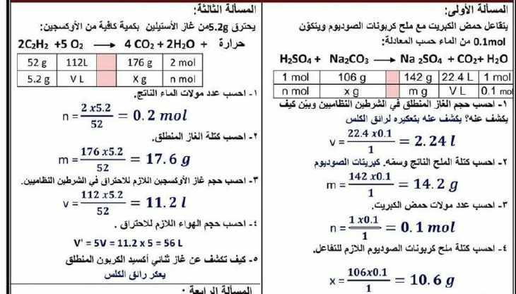 مسائل محلولة كيمياء الصف التاسع