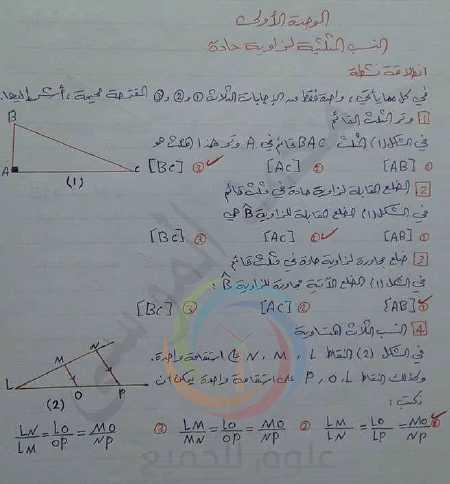 حلول الوحدة الأولى هندسة الصف التاسع