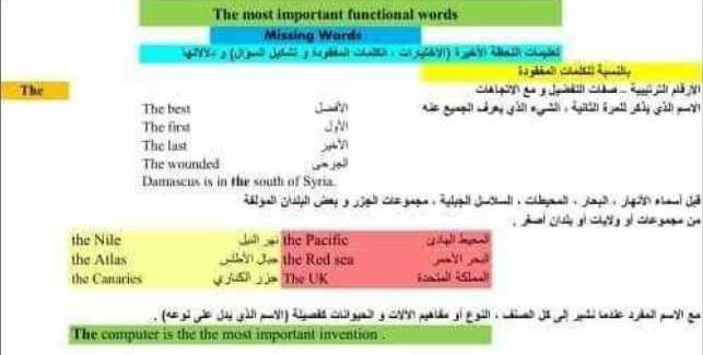 ملاحظات هامة اللغة الانكليزية الصف التاسع