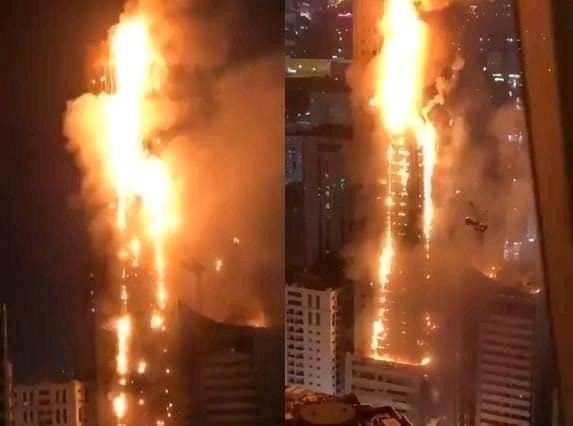حريق في ناطحة سحاب في مدينة الشارقة