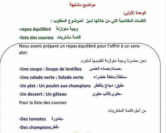 مواضيع موازية لكل الوحدات اللغة الفرنسية الصف التاسع