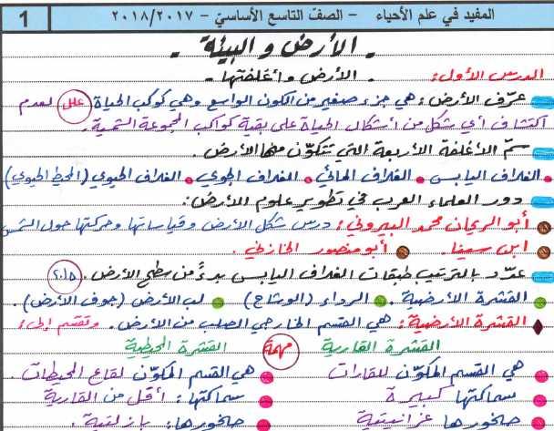 نشرة المفيد في علم الأحياء ج1 الصف التاسع