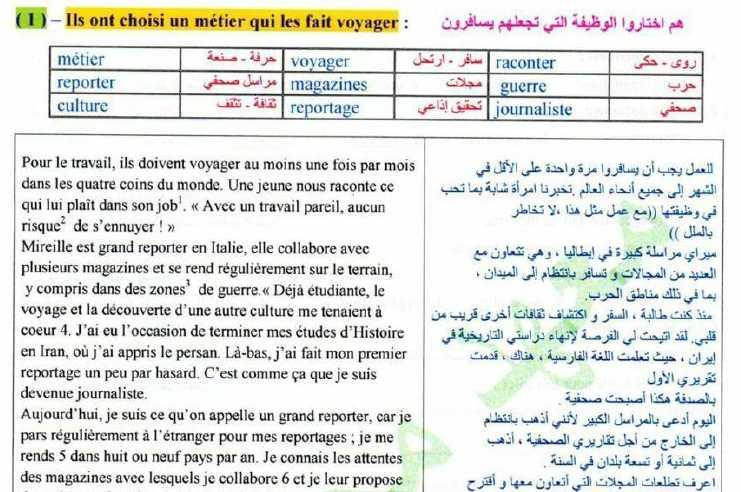نصوص الوحدة الخامسة اللغة الفرنسية الصف التاسع