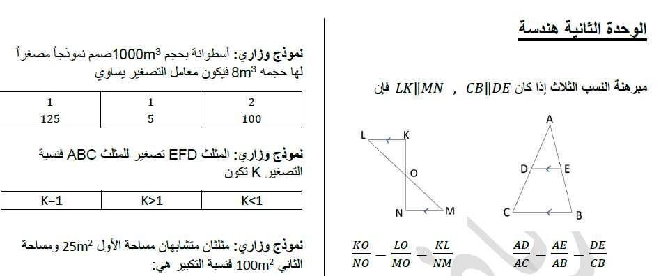اوراق عمل مكثفة هندسة كل الوحدات  الصف التاسع
