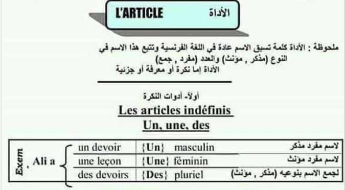 أساسيات في اللغة الفرنسية مفيد للصف التاسع