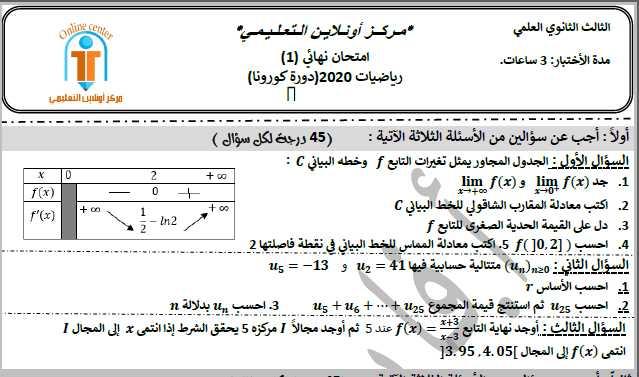 رياضيات بكالوريا نموذج امتحاني نهائي وفق النموذج الوزاري الجديد