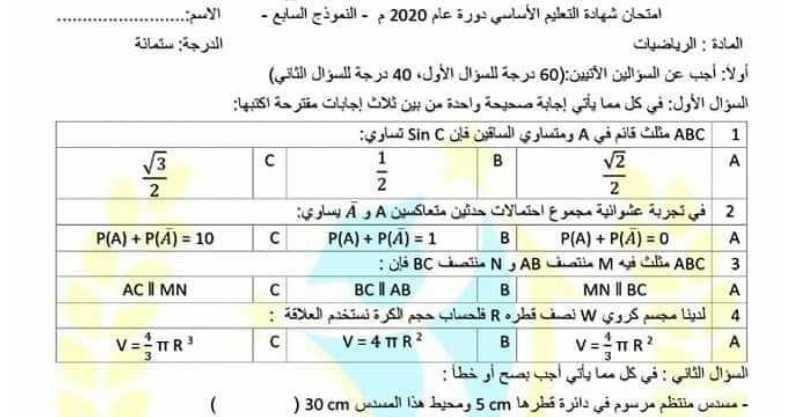 نموذج محلول شامل رياضيات الصف التاسع