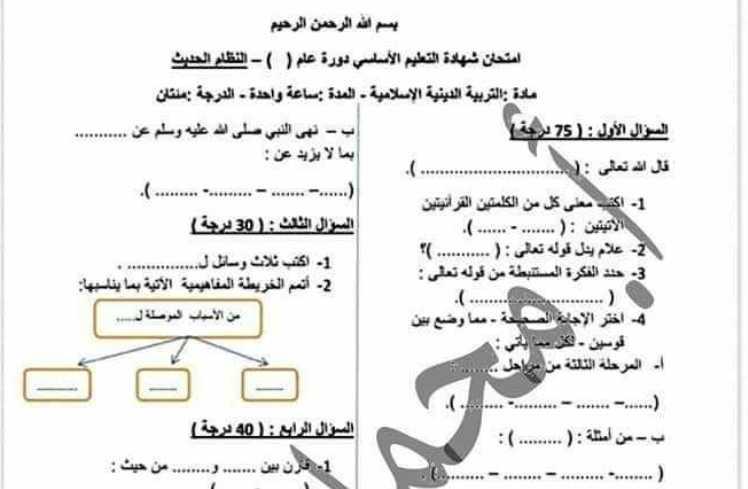ديانة تاسع نماذج امتحانية شاملة لكل وحدة بحسب التوصيف الوزاري الجديد