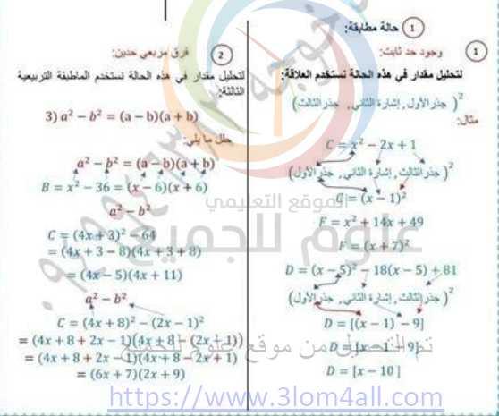 شرح جميع افكار المنهاج بأسلوب مبسط رياضيات التاسع