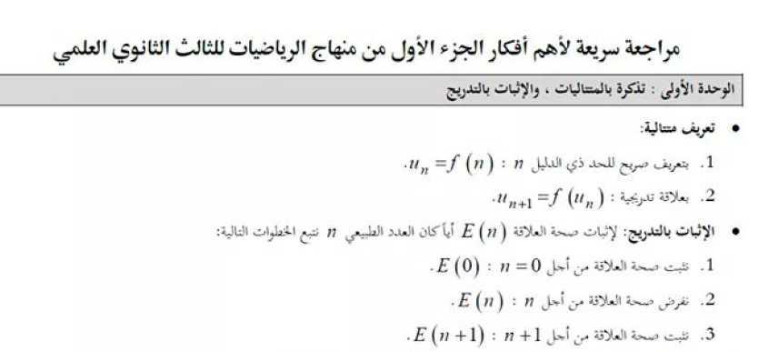 ملخص افكار الجزئين رياضيات البكالوريا العلمي